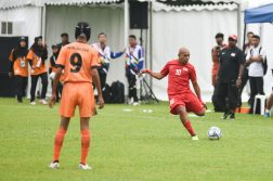Khairul Anwar scoring Singapore's second goal of the match from a free kick.