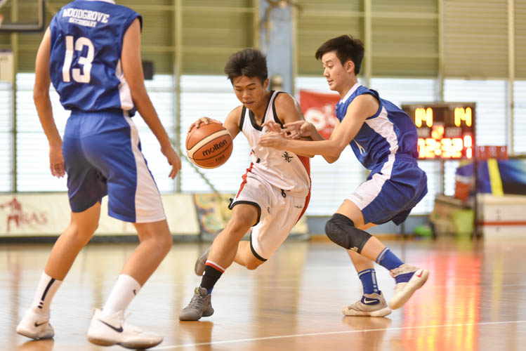 Wei Qin (HG #7) attempting to dribble past Woodgrove's defence during the North Zone B Division basketball match between Hougang secondary and Woodgrove secondary. (Photo © Stefanus Ian/Red Sports)