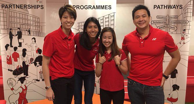 Team Singapore athletes shared their student-athlete experiences at the NYSI Sports Education Huddle on Sat, 24 Feb 2018. Left to right: Cassandra Soh (netball), Dipna Lim-Prasad (T&F), Chelsea Sim (taekwondo), and Mark Chay (swimming). (Photo 1 courtesy of NYSI)