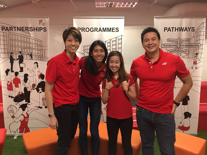 Team Singapore athletes shared their student-athlete experiences at the NYSI Sports Education Huddle on Sat, 24 Feb 2018. Left to right: Cassandra Soh (netball), Dipna Lim-Prasad (T&F), Chelsea Sim (taekwondo), and Mark Chay (swimming). (Photo 1 courtesy of NYSI)