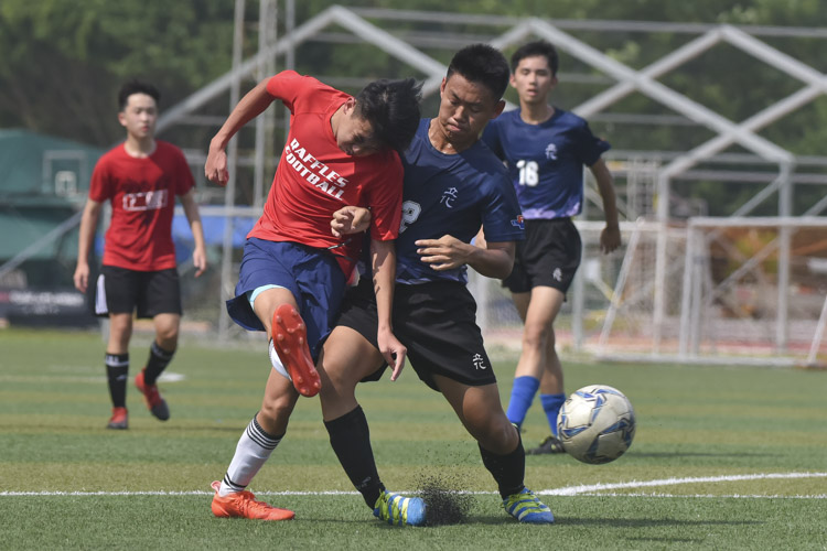 A Raffles Institution player (in red) taking a shot during a NYSI JC League match between Raffles Institution and River Valley High School. (Photo © Stefanus Ian/Red Sports)