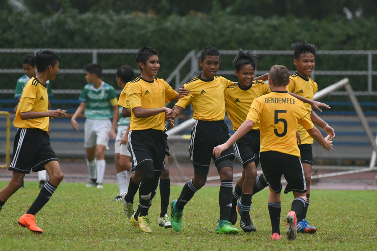 Mohammed Hazrin (BDM#15) celebrating his goal with his teammates. (Photo © Stefanus Ian/Red Sports)