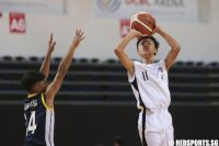 Moses Peh (#11) of Dunman Secondary shoots against Guang Yang Secondary. (Photo © Lee Jian Wei/Red Sports)