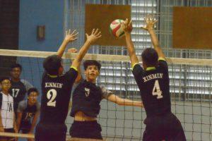 Jordan Ryan (GMS #5) attempts to spike one past the XMS blockers. (Photo 12 © REDintern Nathiyaah Sakthimogan)