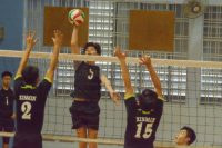 Jordan Ryan (GMS #5) rises high to spike past the XMS blockers. (Photo 1 © REDintern Nathiyaah Sakthimogan)