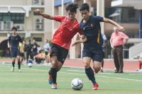 Jovian Goh (ACSI #7) dribbling past his marker during the match. (Photo © Stefanus Ian/Red Sports)