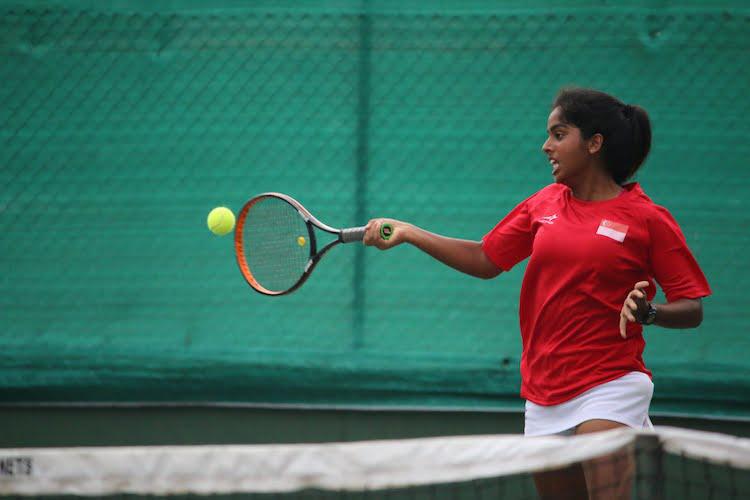 Trisha Mulani competing in the ITF Junior Fed Cup. (Photo by Red Sports reader Prakash Mulani)