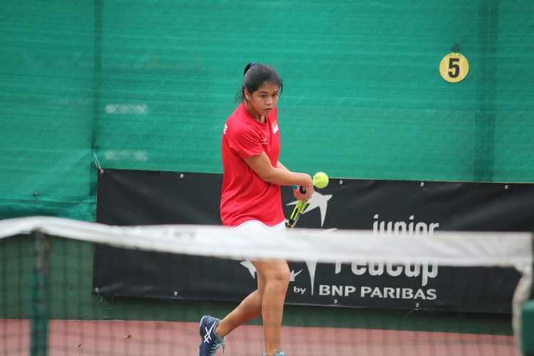 Team Singapore athlete competing in the ITF Junior Fed Cup. (Photo by Red Sports reader Prakash Mulani)