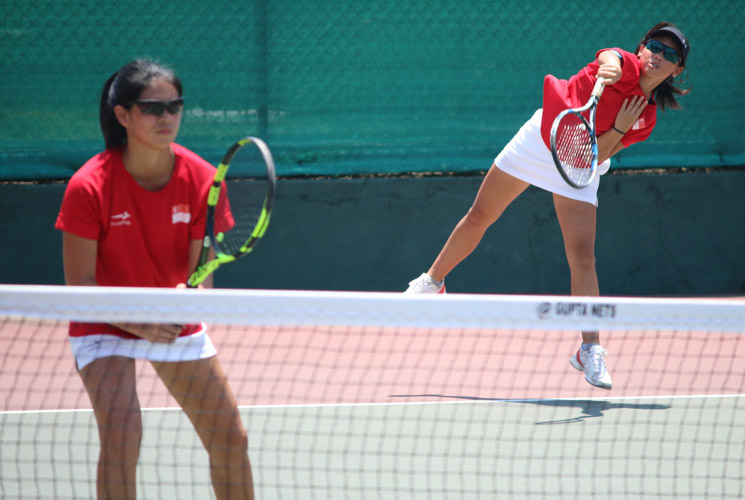 Team Singapore athletes competing in the ITF Junior Fed Cup. (Photo by Red Sports reader Prakash Mulani)