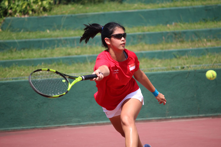 Joelle Goh in action during the 2018 ITF Junior Fed Cup. (Photo 4 by Red Sports reader Warren Choo)