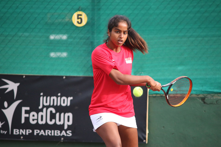 Trisha Mulani in action during the 2018 ITF Junior Fed Cup. (Photo 4 by Red Sports reader Warren Choo)