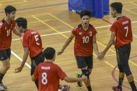 The Shuqun team celebrating a point during the match. (Photo © Stefanus Ian/Red Sports)