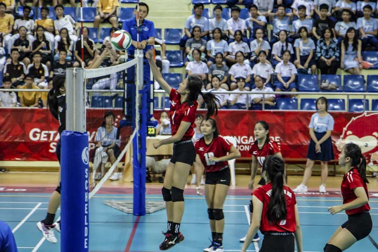 Leong Kai Xin (PH #1) spiking the ball during the match. (Photo 1 by Red Sports reader Mervin Lau)