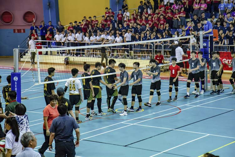 St Hilda's and Catholic High shaking hands after the final match. (Photo by Red Sports reader)