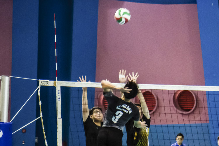 Chen Jian Xin (SHS #3) spiking the ball during the match. (Photo 1 by Red Sports reader Mervin Lau)
