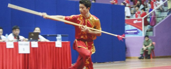 Choo Yi Xuan of Hwa Chong Institution topped the A Division Boys 1st International Spear with an 8.80 score. (Photo 1 © Joy Poon)