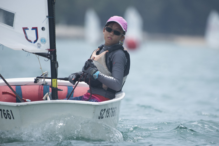 Nadine Sng of Nanyang Girls' High School (#4669) came in second with a score of 18 points in the C Division Girls' Optimist Sailing Championships. (Photo  © Stefanus Ian/Red Sports)