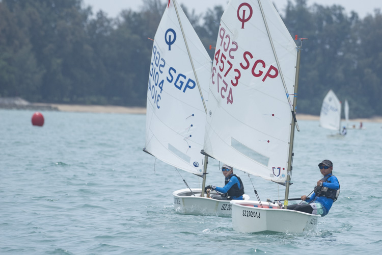 Radiance Koh of Nanyang Girls' High School (#4573) came in fourth with a score of 21 points in the C Division Girls' Optimist Sailing Championships. (Photo  © Stefanus Ian/Red Sports)