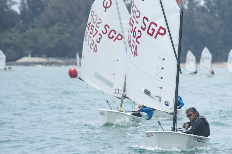 Faith Hailey Toh of Raffles Girls' School  (#4562) came in fifth with a score of 22 points in the C Division Girls' Optimist Sailing Championships. (Photo  © Stefanus Ian/Red Sports)