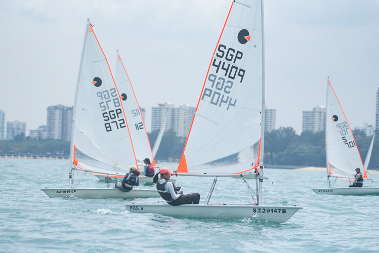 Riane Lee of Raffles Girls' School (#4409) came in second with a score of nine points in the B Division Girls' Bytes Sailing Championships. (Photo  © Stefanus Ian/Red Sports)