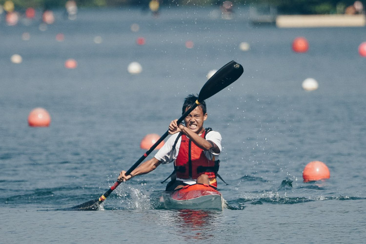 Wu You (HCI) finished 2nd in the C-boys K1 1000m. (Photo by Red Sports reader Andrew Lee)