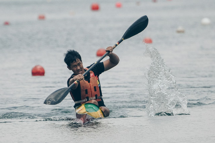 Heng Fu Sin (HCI) finished 1st in the B Boys K1 1000m. (Photo by Red Sports reader Andrew Lee)