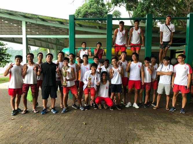 The National Junior College team celebrating their win after breaking Hwa Chong's nine-year A Division Boys' winning streak. (Photo by REDintern Joy Poon)