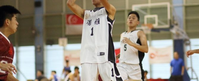 Victor Lai (EJC #1) pulls up for a jumper. He finished with a game-high 12 points. (Photo © Chan Hua Zheng/Red Sports)