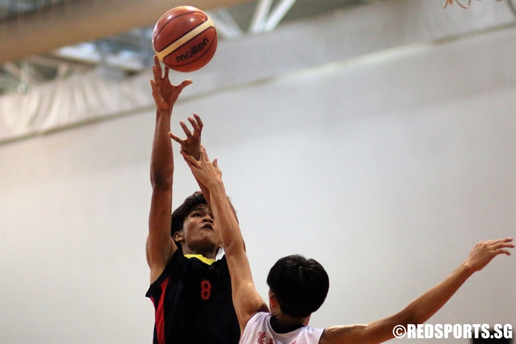 Khant Zay Naing (ACSB #8) lays the ball up against North Vista. (Photo 5 © Dylan Chua/Red Sports)