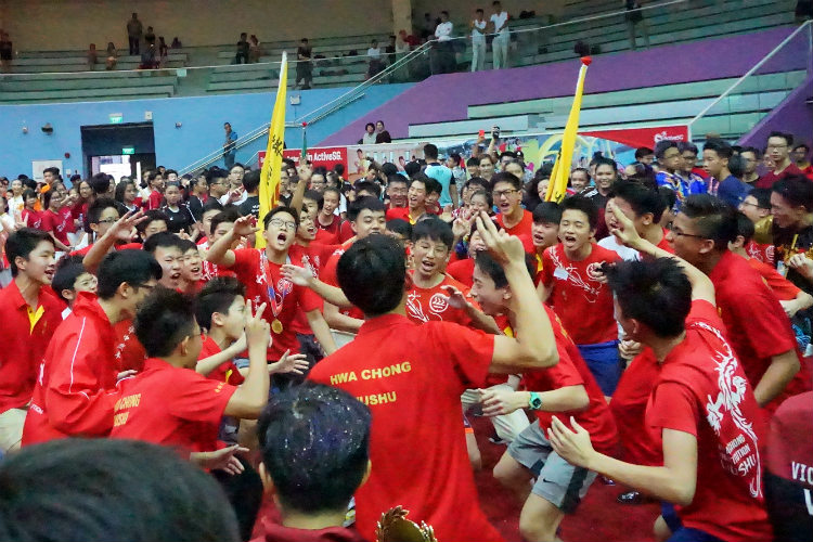 Hwa Chong Institution Boys cheering after prize presentation. (Photo 3 © REDintern Pang Chin Yee)