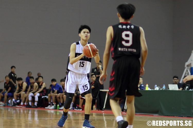 Jaron Ng (PHS #15) steps into a three-point shot. (Photo © Chan Hua Zheng/Red Sports)