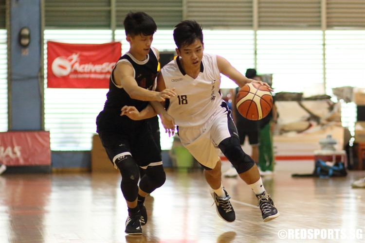 Glendon Goh (CJC #18) drives the ball up the court in transition. (Photo 5 © Dylan Chua/Red Sports)