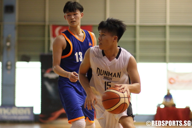 Jonathan Goh (DHS #15) looks to attack the basket against AJC. (Photo 6 © Dylan Chua/Red Sports)
