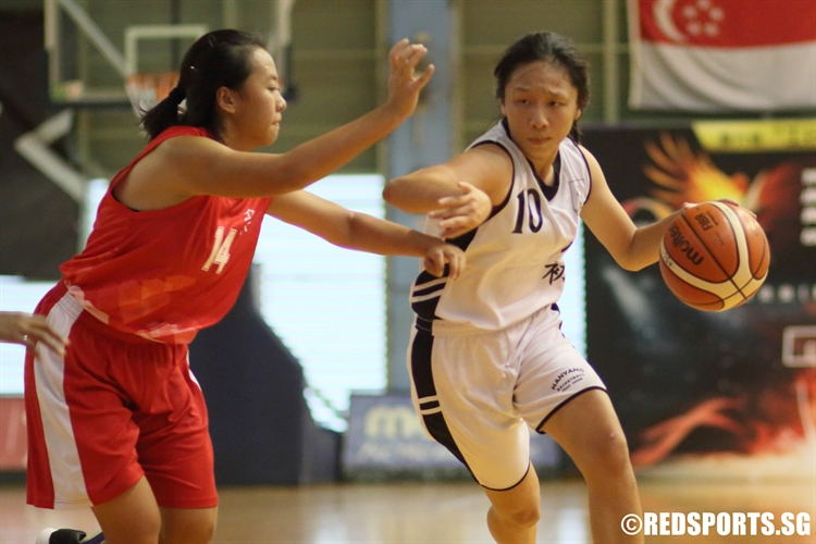 (NYJC #10) on a drive to the basket. She scored a game-high 16 points. (Photo 1 © Dylan Chua/Red Sports)