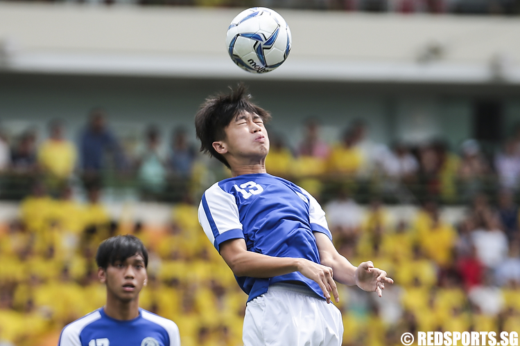 Lucas Ng (#13) of Meridian Junior College heads the ball. (Photo © Lee Jian Wei/Red Sports)
