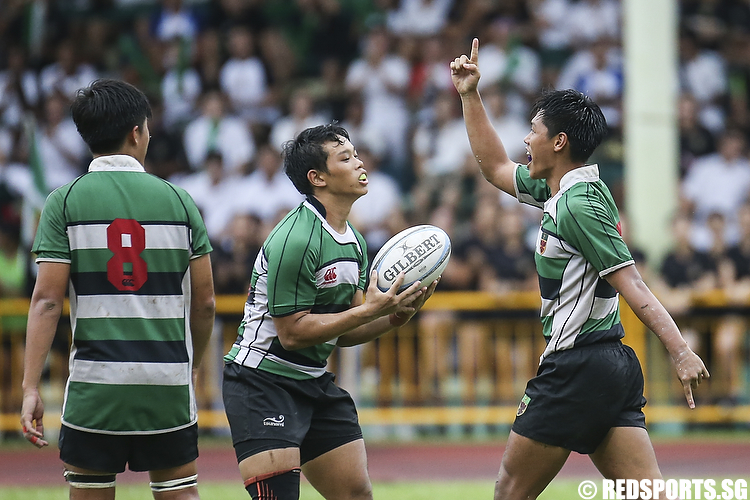 Gideon Kee (#7) of Raffles Institution scored their first try in the second half of the match. (Photo © Lee Jian Wei/Red Sports)