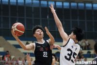 Huang Yifan (NJC #22) soars for a lay-up against HCI. The NJC forward scored 19 points to lead his school to their first every final. (Photo 1 © Dylan Chua/Red Sports)