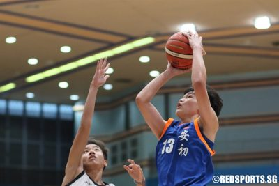 Xavier Ng (AJC #13) looks to score on the fast break. (Photo 12 © Dylan Chua/Red Sports)
