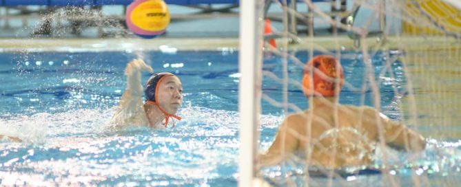 Eldon Ng (NUS #9) scoring one of the goals for NUS. (Photo 1 © Stefanus Ian/Red Sports)