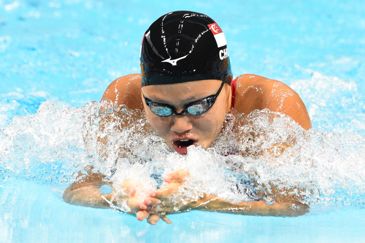 Christie Chue in action during one of the women's 50m breaststroke races at the 14th Singapore National Swimming Championships 2018. She came in second in the final with a time of 32.44s. (Photo 1 © Stefanus Ian/Red Sports)