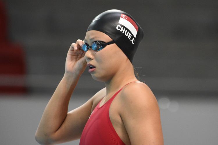 Christie Chue preparing herself before her women's 50m breaststroke semi final. (Photo 1 © Stefanus Ian/Red Sports)