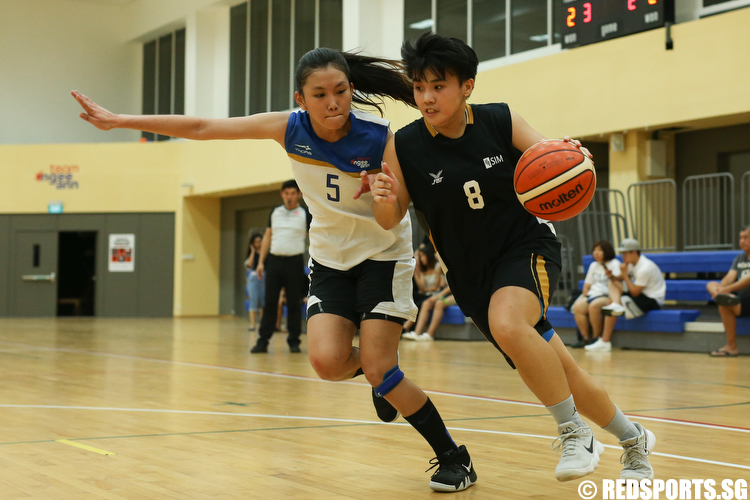 (#8) of Singapore Institute of Management drives the ball against Lim Yin Yan (#5) of Ngee Ann Polytechnic. (Photo © Lee Jian Wei/Red Sports)