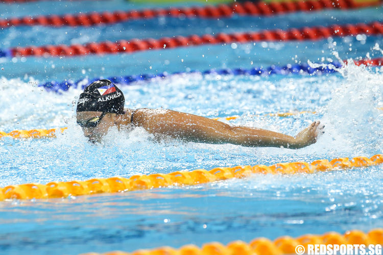 Jasmine Alkhaldi representing Ayala Harpoons Swim Club clocked a time of 1 minute 1.45 seconds to win gold in the Women's 100m Butterfly. (Photo © Lee Jian Wei/Red Sports)