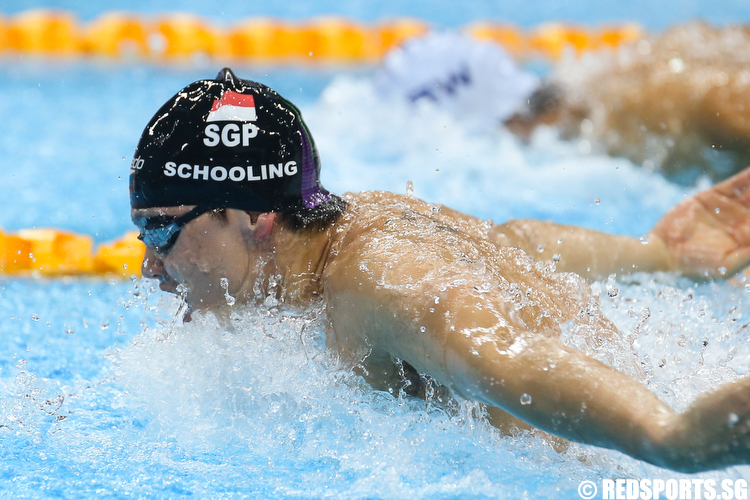 Joseph Schooling representing the Singapore Chinese Swimming Club clocked a time of 52.43 seconds to clinch gold in the Men's 100m Butterfly Finals. (Photo © Lee Jian Wei/Red Sports)