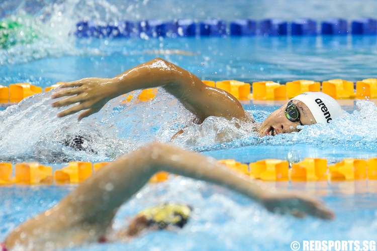 Gan Ching Hwee representing the Singapore Chinese Swimming Club clocked a time of 8 minutes 49.33 seconds in the Women's 800m Freestyle Finals to clinch gold and setting a new meet record. (Photo © Lee Jian Wei/Red Sports)