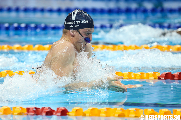 Samuel Williamson representing Swimming Victoria clocked a time of 1 minute 2.06 seconds to clinch the gold medal and setting a new meet record in the Men's 100m Breaststroke Finals. (Photo © Lee Jian Wei/Red Sports)