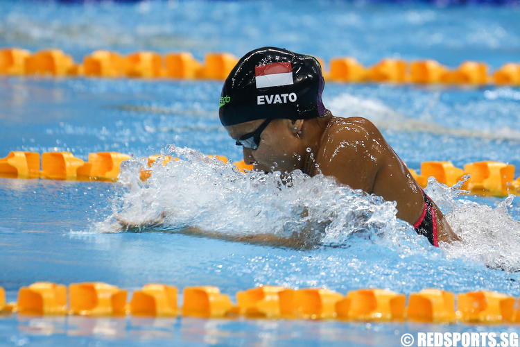 Treciel Vanessae Evato Anandia representing Indonesia clocked a time of 1 minute 10.45 seconds to clinch gold and setting a new meet record in the Women's 100m Breaststroke Finals. (Photo © Lee Jian Wei/Red Sports)