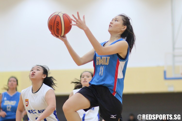 Lui Si Xuan (SMU #11) elevates for a transition lay-up. (Photo  © Chan Hua Zheng/Red Sports)