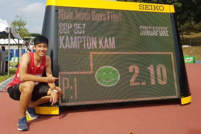 Kampton Kam set a new national junior record when he jumped a personal best of 2.10m to win gold. His previous PB was 2.05. This makes him the joint 7th best jumper in the world this year for under-18 athletes. There are 7 athletes at 2.10. Kampton also recently qualified for the upcoming 2018 Youth Olympic Games in Buenos Aires. (Photo courtesy of Kampton Kam)