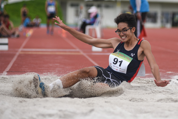 Muhammad Putera of Nanyang Polytechnic competing in the Men's Triple Jump Open event. (Photo © Stefanus Ian/Red Sports)